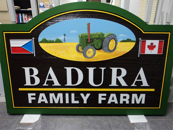 Badura family sand blasted sign